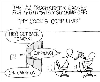 Tira cómica de XKCD de Compiling